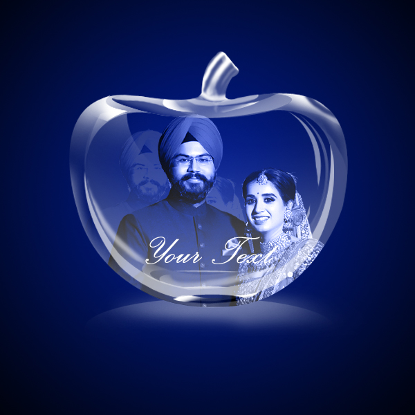 Personalized 3D Crystal Apple 5