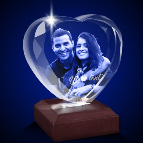 Personalized 3D Crystal Heart 7