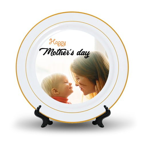 Personalized Ceramic Photo Plate Golden Coated Design 1 1