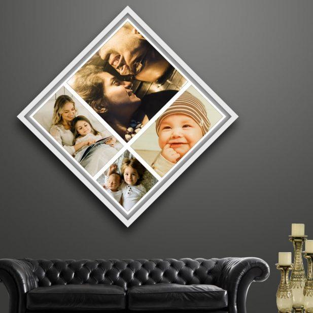 Personalized Photo Collage Canvas Diamond Design 2 2