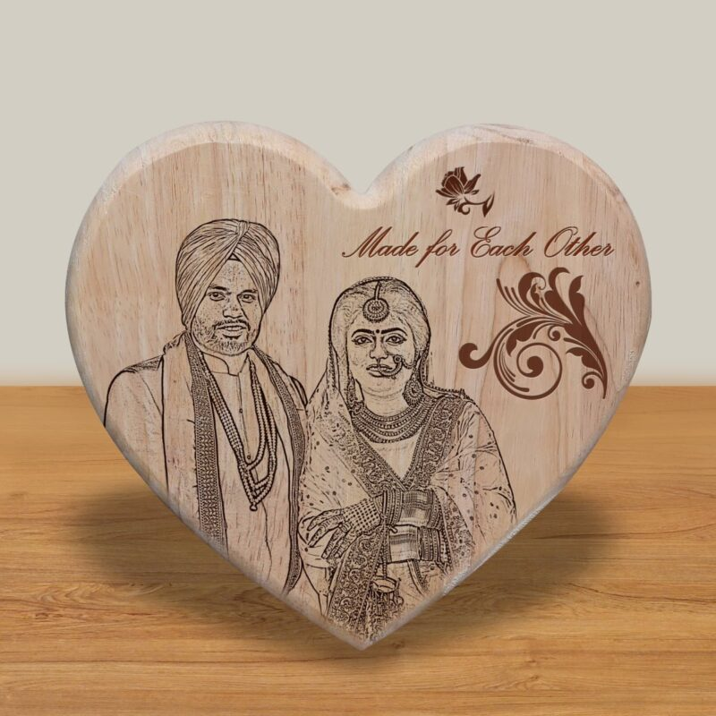 Personalized Wooden Engraving Photo Frame & Plaques Heart Design 1 1