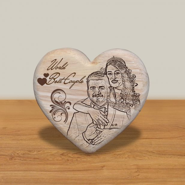 Personalized Wooden Engraving Photo Frame & Plaques Heart Design 2 2
