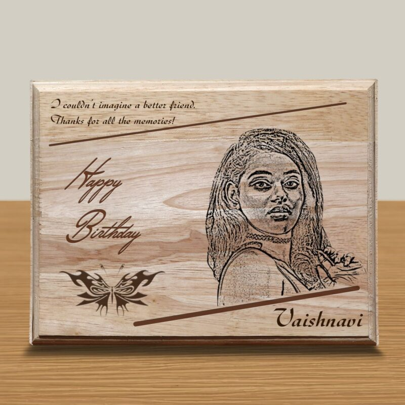 Personalized Wooden Engraving Photo Frame & Plaques Square Design 3 1