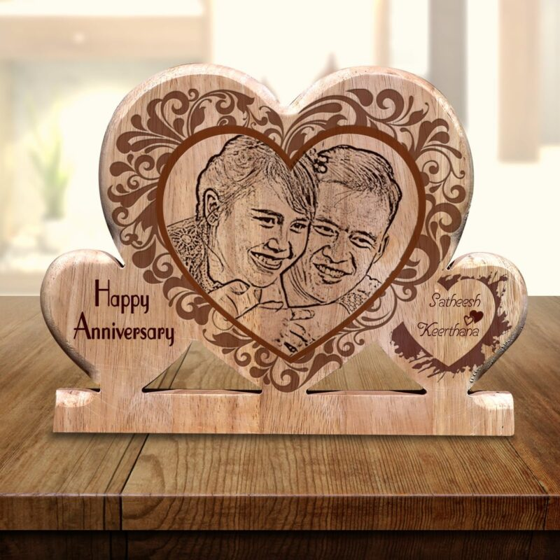 Personalized Wooden Engraving Photo Frame & Plaques Triple Heart Design 7 1