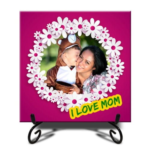 """Personalized Designed White Flower Photo Tiles 12""""x12"""" 9"""