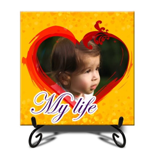 Personalized Heart Design Photo Tiles 12''x12'' 12