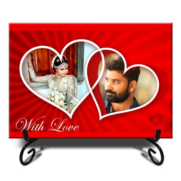Personalized Double Heart With Love Photo Tiles 13