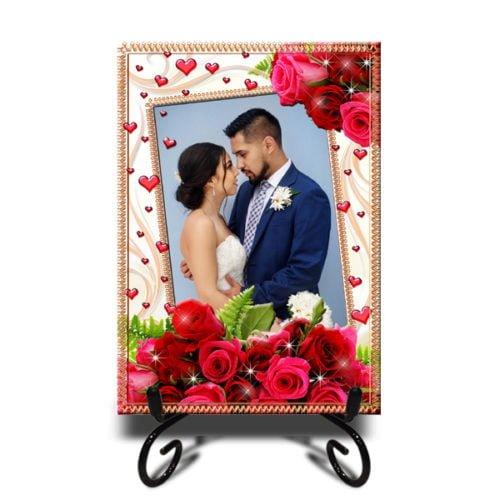 Personalized Floral Design Framed Photo Tiles 15