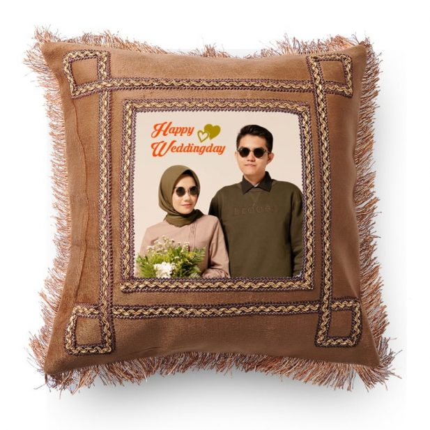 Personalized Light Brown Photo Pillow 6
