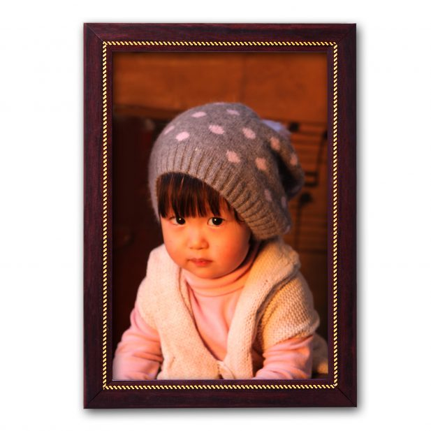 Personalized Brown With Golden Synthetic Photo Frame Design 14 14