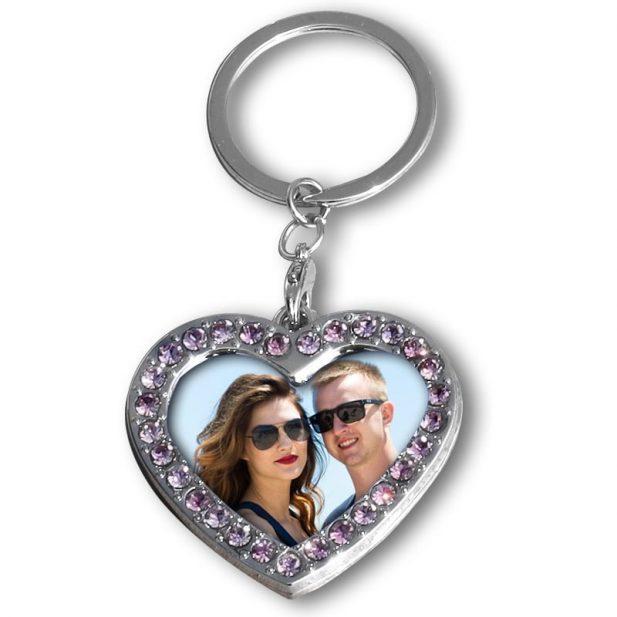 Personalized Photo Keychain Stone Heart Design 1 1