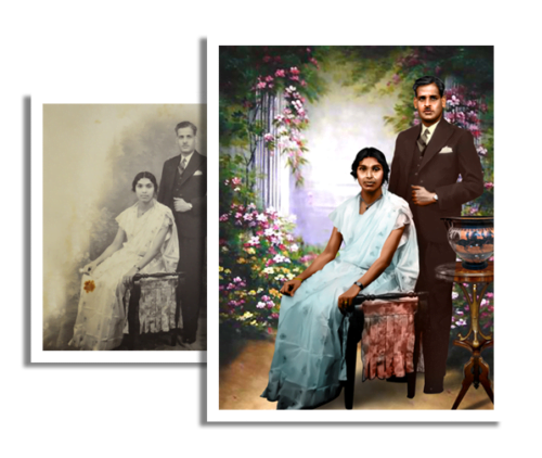 Personalized Digital Art B/W to COLOUR Photo Printing 2