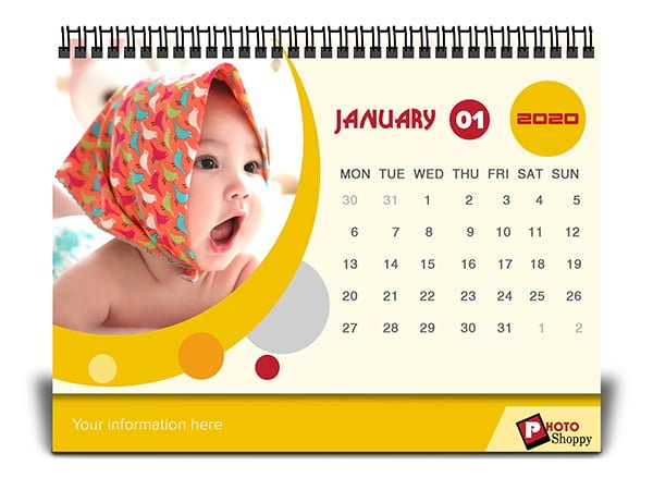 Customised Abstract Yellow Desk Calendar 4