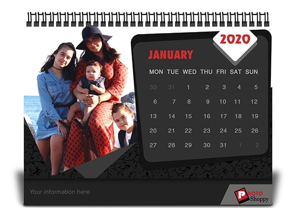 Black Design Desk Calendar 2020 6