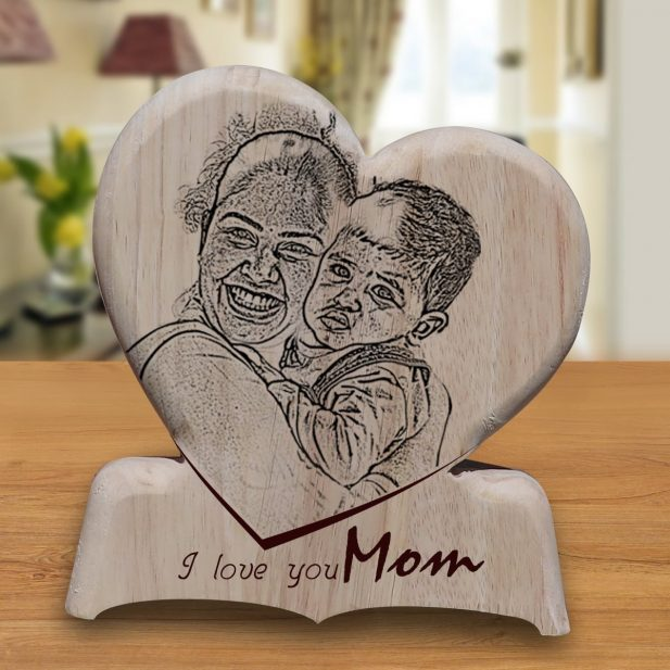 Personalized Wooden Engraving Photo Frame & Plaques Heart Design 10 10
