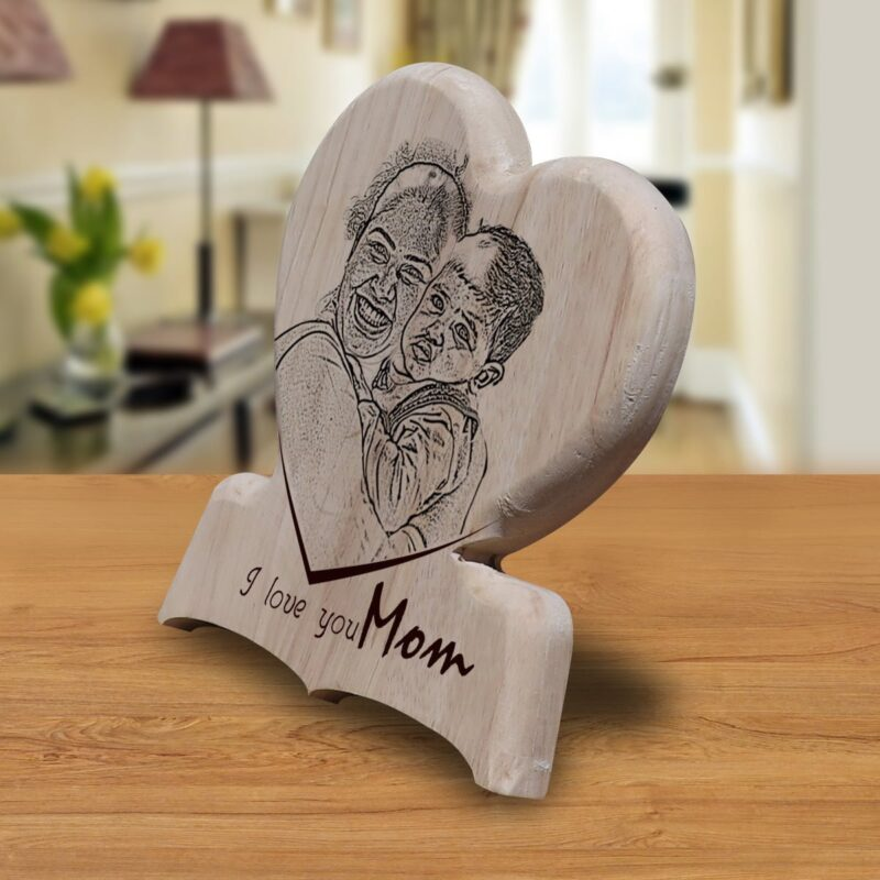 Personalized Wooden Engraving Photo Frame & Plaques Heart Design 10 2