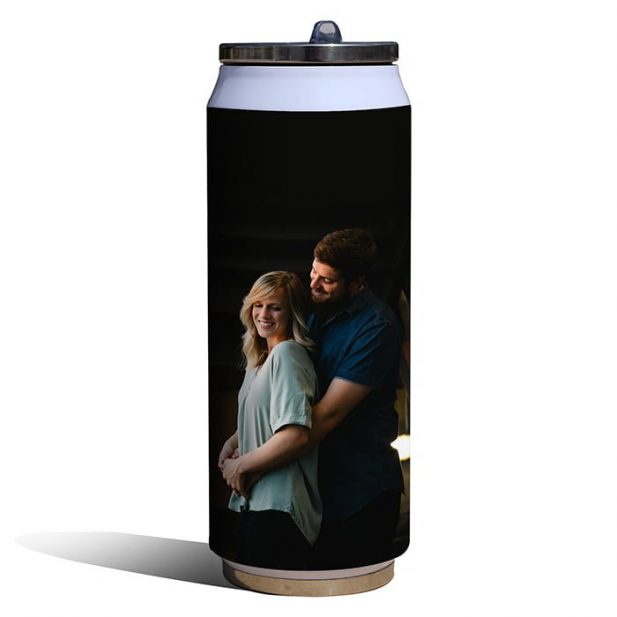 Personalized Thermos White Photo Flask 4