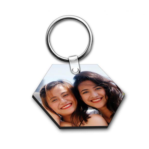 Personalized Photo Keychain Hexagon Design 12 10