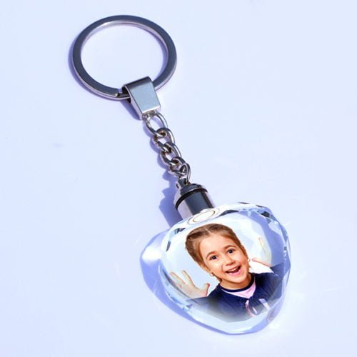 Personalized Photo Keychain Heart Crystal Design 20 16
