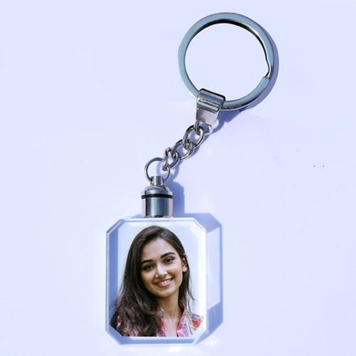 Personalized Photo Keychain Rectangle Crystal Design 21 17
