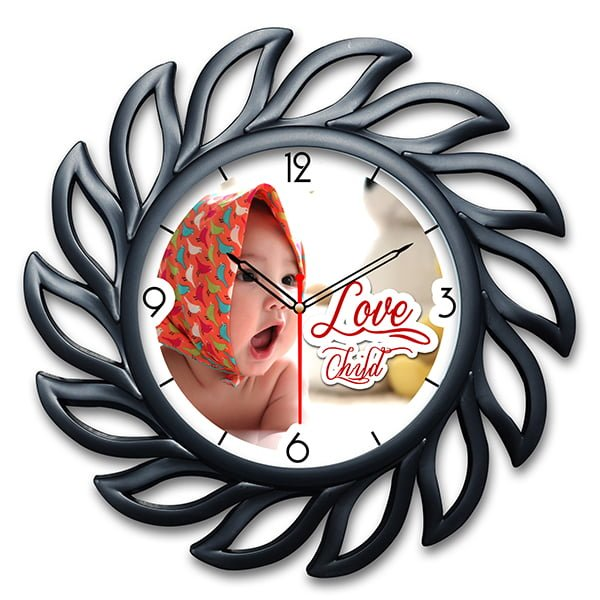 Personalized Photo Wall Clock Vintage Design 1 1