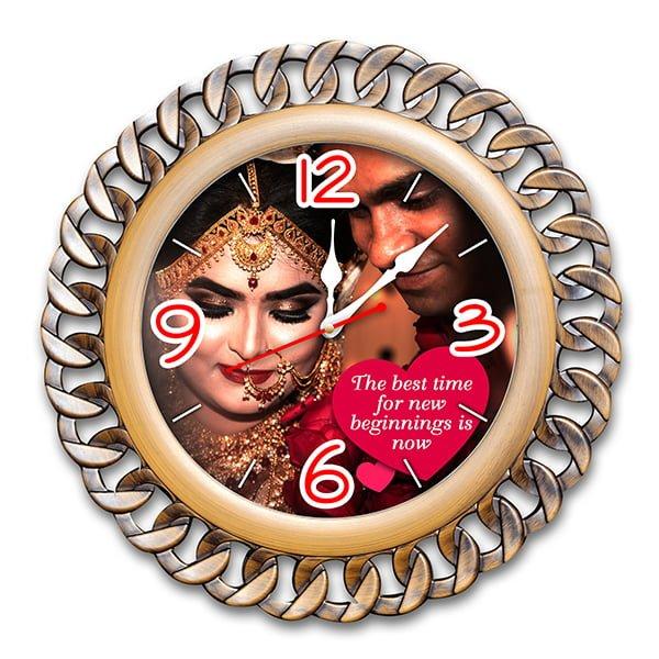 Personalized Photo Wall Clock Chain Circle Design 5 4