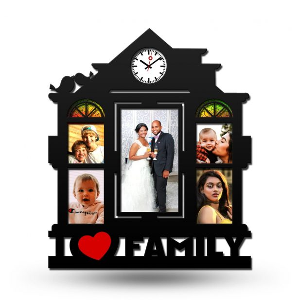 Personalized Family Love Collage Photo Frame With Clock 1