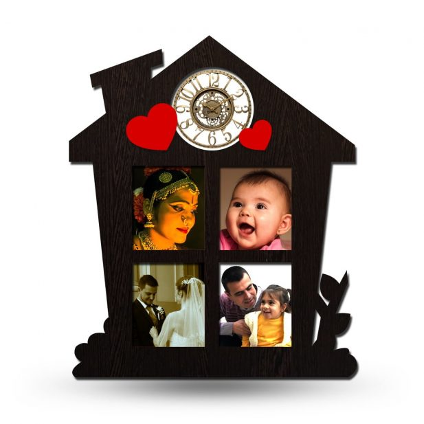 Personalized Home Designed Collage Photo Frame With Clock 1