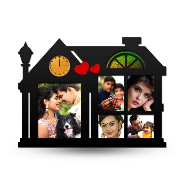 Personalized Home Collage Photo Frame With Clock 12
