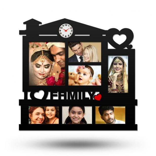 Personalized I Love Family Collage Photo Frame With Clock 2