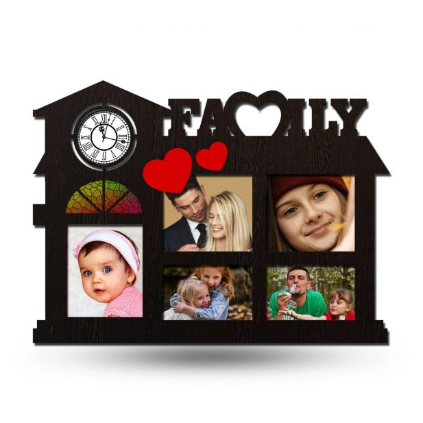 Personalized Family Collage Photo Frame With Clock 2