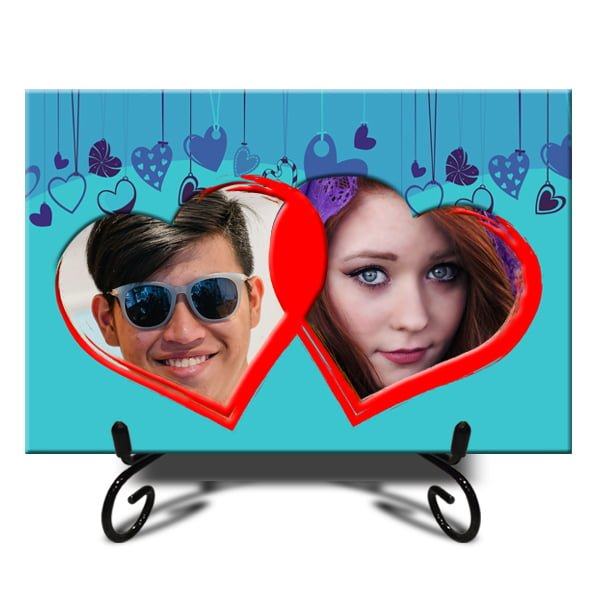 Personalized Double Heart Photo Tiles 3