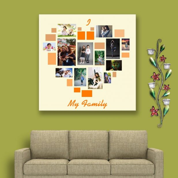 Personalized Photo Collage Canvas Heart Design 1 1