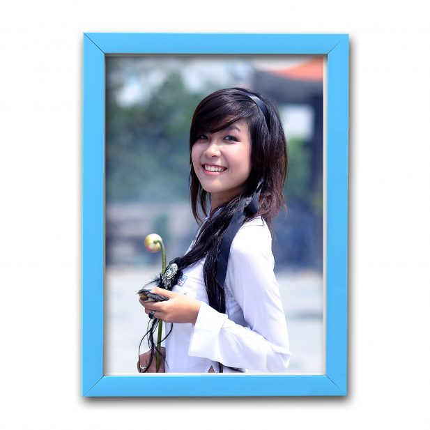 Personalized Sky Blue Synthetic Photo Frame Design 25 25