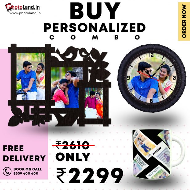 Collage photo frame |Photo Wall Clock | White mug Combo Pack of 3 4