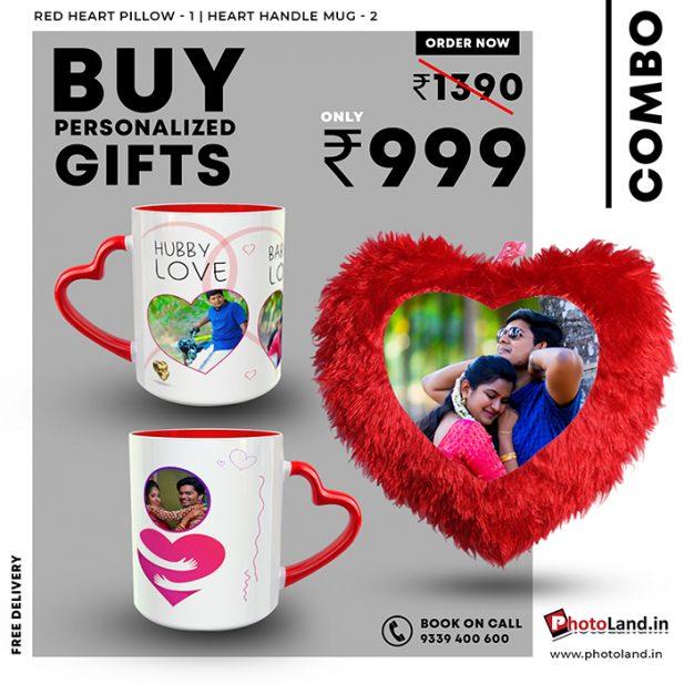 Heart Pillow | Red Heart Handle Mug Combo Pack Of 3 7