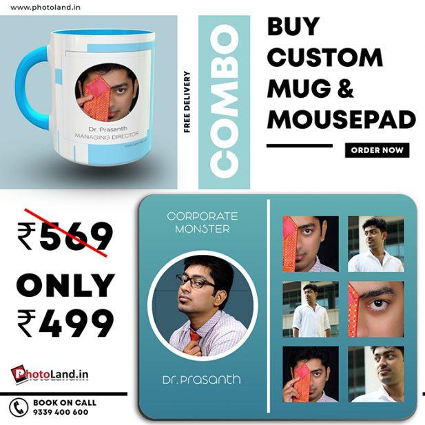 Two Tone Sky blue Mug | Mouse pad Combo Pack of 2 6